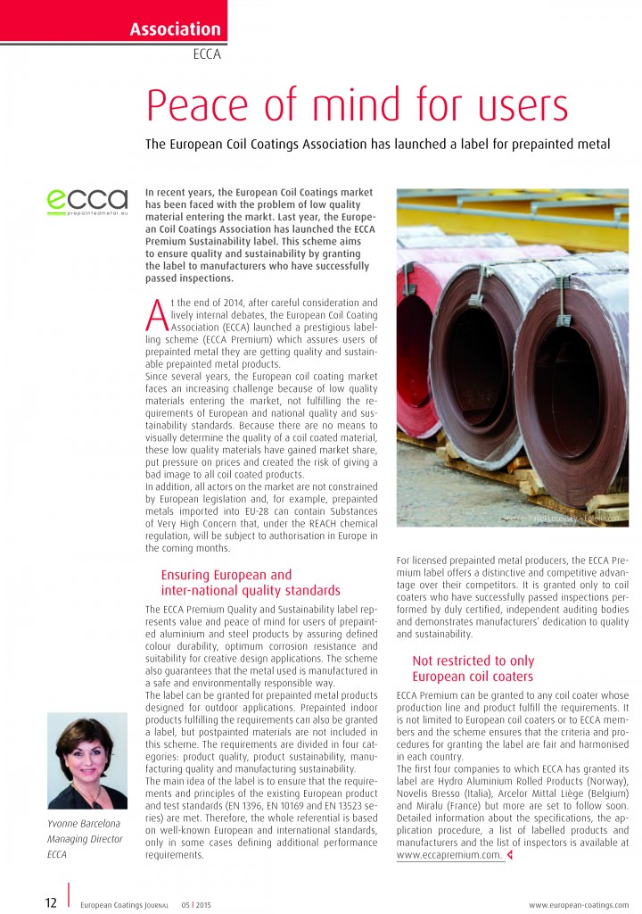 European Coatings Journal article on ECCA Premium-0